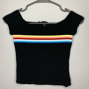 forever 21 black cropped top with rainbow stripe